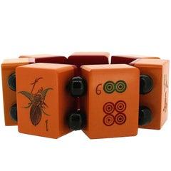 1930s Orange Bakelite Mahjong Vintage Bracelet