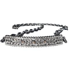 White Cognac Diamonds Silver Curved Bar Textured Steel Chain Wrap Bracelet