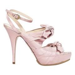Pink Prada Satin Bow Platform Pumps