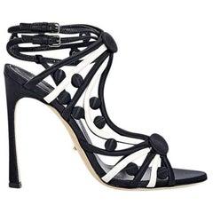 Black Sergio Rossi Strappy Satin Sandals