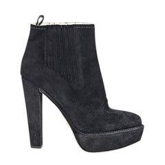 Black Prada Suede Heeled Ankle Boots