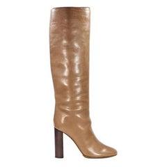 Tan Chloé Leather Knee-High Boots