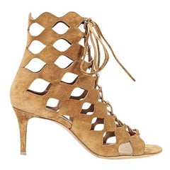 Tan Gianvito Rossi Suede Cutout Ankle Boots