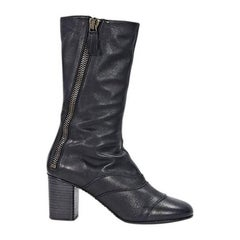 Black Chloé Leather Mid-Calf Boots