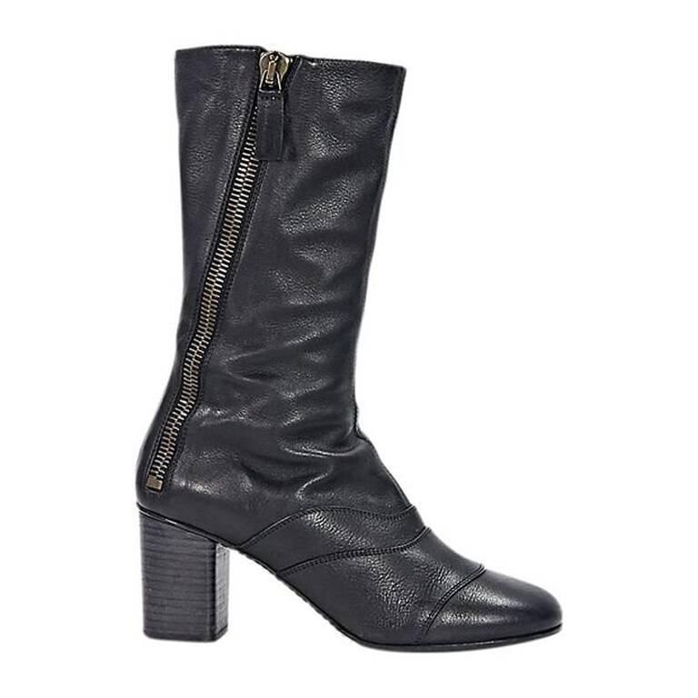 Black Chloé Leather Mid-Calf Boots For Sale at 1stdibs