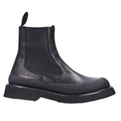 Black Céline Leather Chelsea Boots