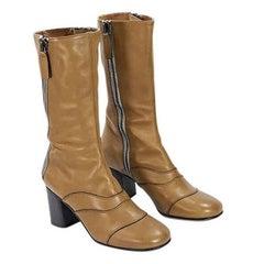 Tan Chloé Leather Mid-Calf Boots