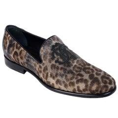 Roberto Cavalli Womens Animal Print Calf Leather Slip Ons