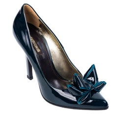 Roberto Cavalli Womens Teal Patent Leather Bow Pumps