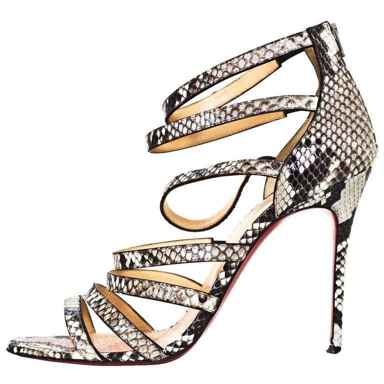 wholesale dealer d817b cd6e2 Christian Louboutin Black/White Python Strappy Sandals Sz 41.5 with DB