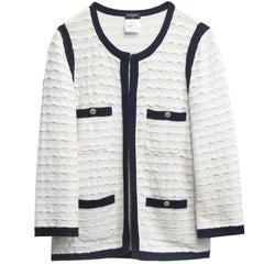 Chanel Cream & Navy Knit Cardigan Sweater sz FR36