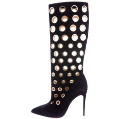 Christian Louboutin New Black Suede Gold Cut Out Knee High Heels Boots in Box
