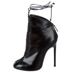 Alaia New Black Leather LaceUp Corset Ankle Bootie Boots W/Box