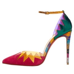 Christian Louboutin New Red Gold Multi Color Flame High Heels Sandals in Box