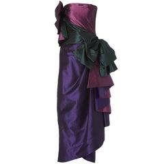 Purple And Green Taffeta Evening Gown, circa 1987