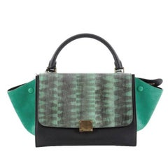 Celine Tricolor Trapeze Handbag Tiger Snake and Leather Small