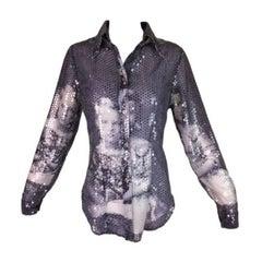 F/W 1998 Alexander McQueen 'Joan' Romanov Print Sequin Sheer Blouse Shirt