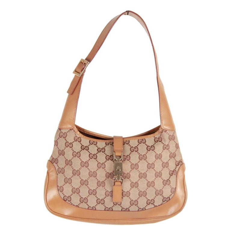 b84e0641c0dc GUCCI Beige Monogram Canvas and Leather HOBO JACKIE O For Sale at ...