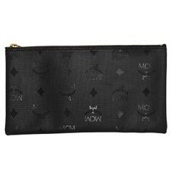 MCM Black Monogram East West Pouch Bag
