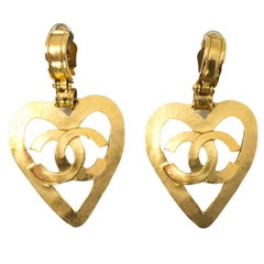 Chanel '90s Large CC Heart Clip-On Earrings with Box