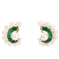 Seaman Schepps 18k Gold, Pearl & Emerald Clip-On Earrings