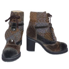 Chanel Low Boots in Brown and Grey Velvet 38 French size / EXCELLENTE CONDITION