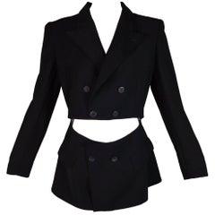 1989 Jean Paul Gaultier Black Cut-Out Waist Blazer Jacket