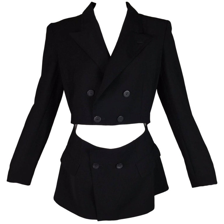 1989 Jean Paul Gaultier Black Cut-Out Waist Blazer Jacket For Sale ...