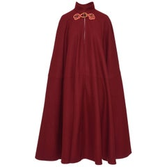 1980s Yves Saint Laurent Rive Gauche Maroon Wool Cape