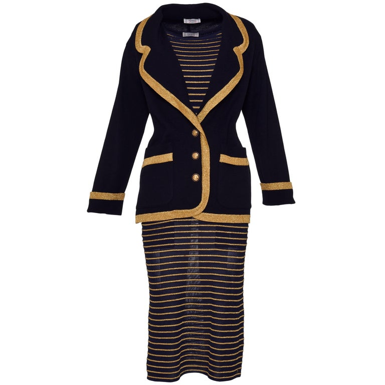 1980s YVES SAINT LAURENT Rive Gauche Black and Gold Suit Dress