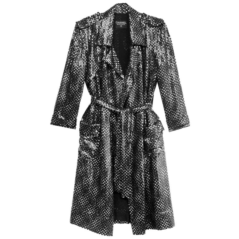 Chanel Black & Silver Sequin Evening Trench Coat sz FR40