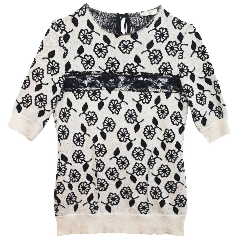 8aeac240cbe Nina Ricci Black & White Cashmere Short Sleeve Sweater sz M