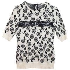 Nina Ricci Black & White Cashmere Short Sleeve Sweater sz M