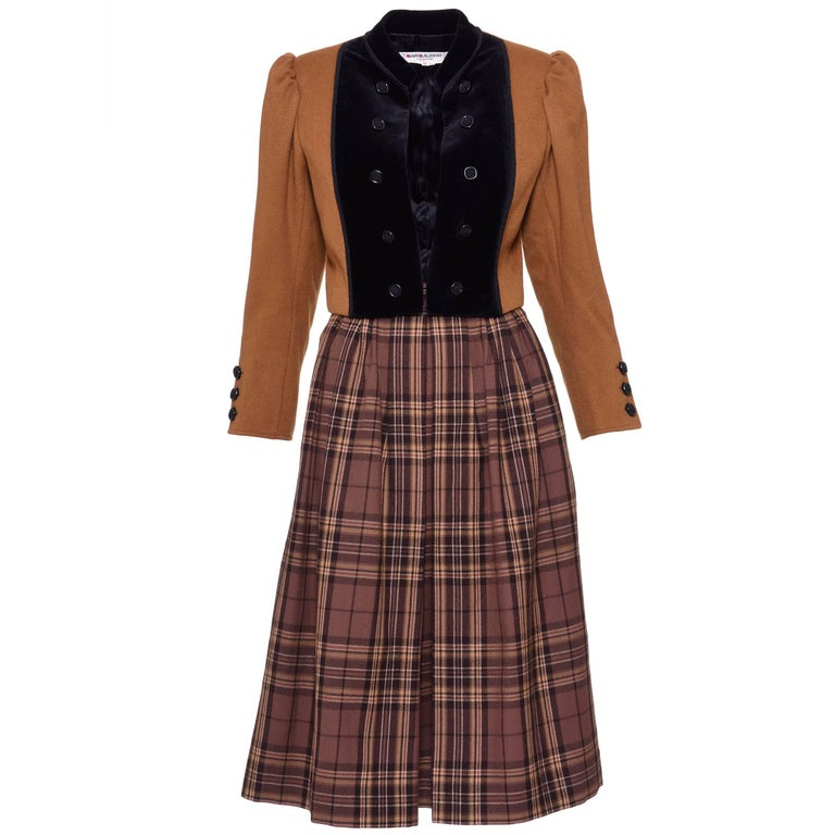 1980s YVES SAINT LAURENT Rive Gauche Tartan and Velvet Brown Suit Skirt  1