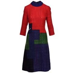 1960s ROBERTA DI CAMERINO Geometric Print Day Mod Dress