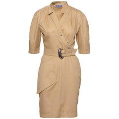 1980s THERRY MUGLER Paris Kaki Cotton Dress