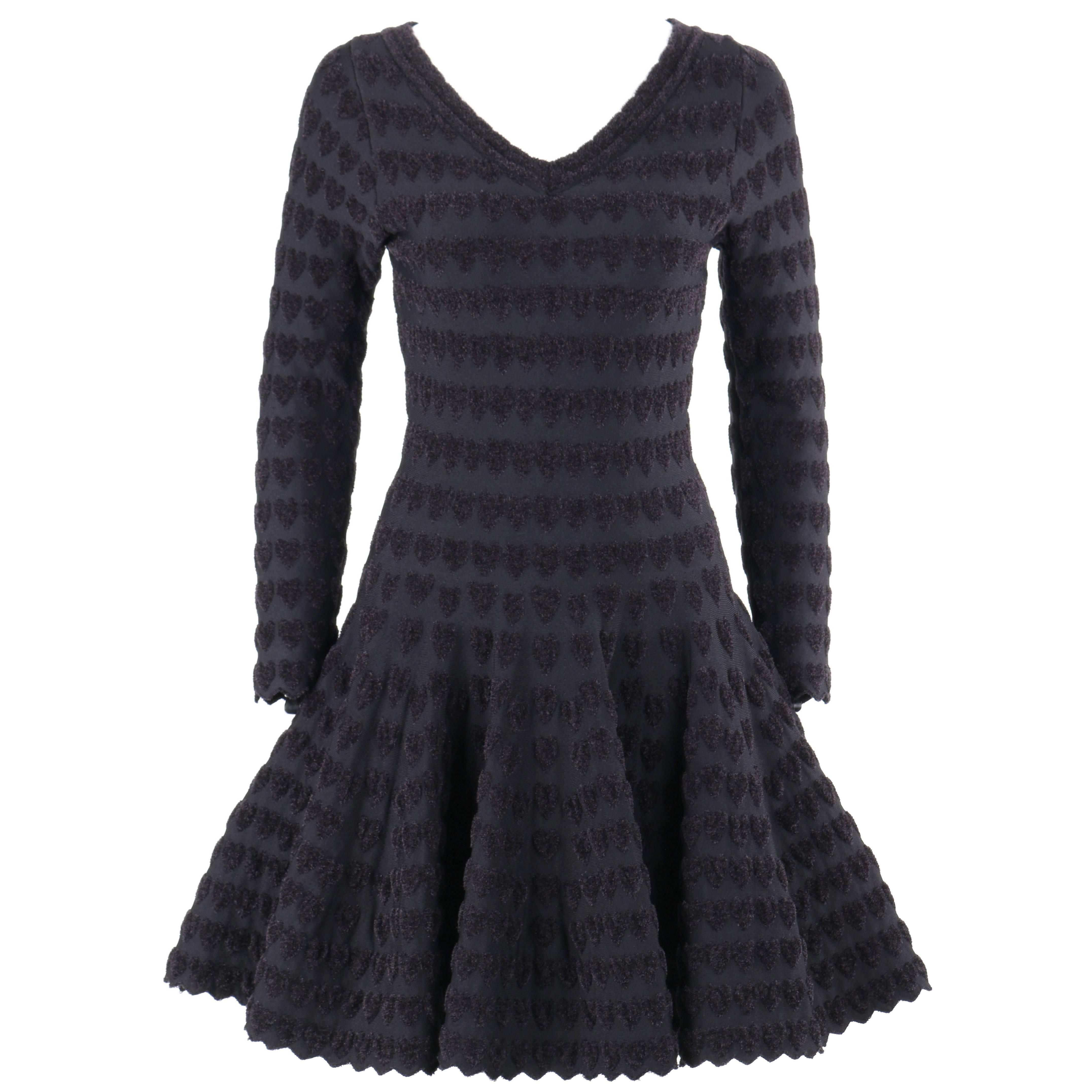 ALAIA Paris Black Heart Patterned Knit Fit & Flare Cocktail Dress