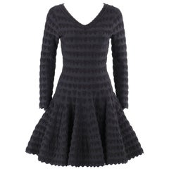 ALAIA Paris Black Heart Patterned Knit Fit & Flare Cocktail Dress