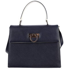 Salvatore Ferragamo Blue Leather Top Handle Shoulder Bag