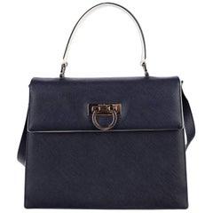 Salvatore Ferragamo Navy Blue Leather 2 in 1 Top Handle Satchel Shoulder Bag