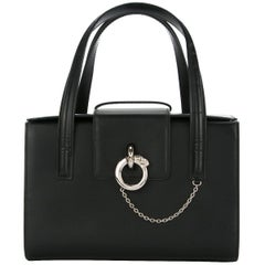 Cartier Black Leather Silver Chain Evening Top Handle Satchel Tote Bag