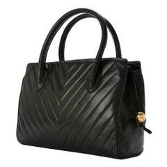 Chanel Black Leather Chevron Evening Top Handle Satchel Boston Tote Hand Bag