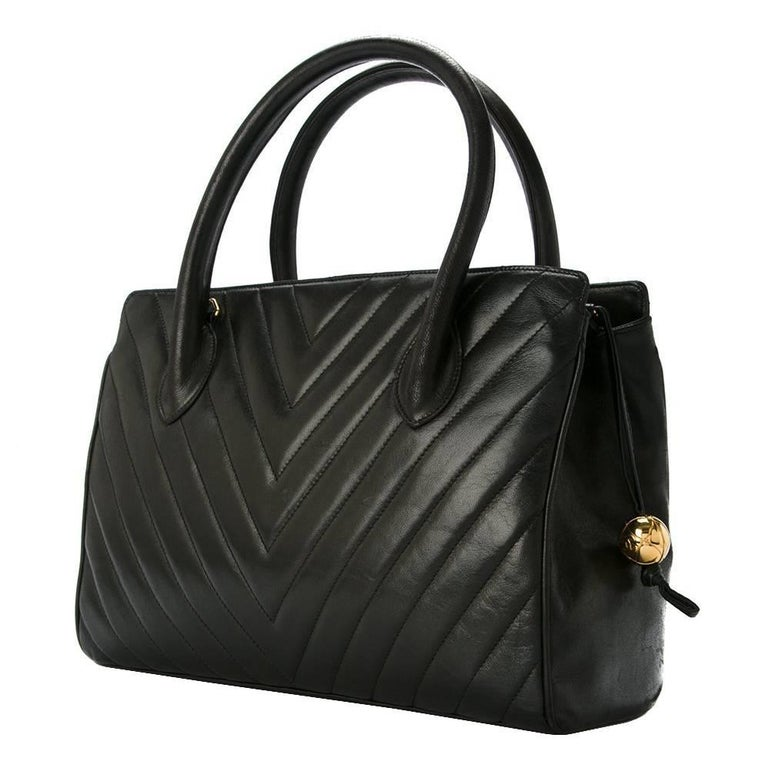 Chanel Black Leather Chevron Evening Top Handle Satchel Boston Tote Hand Bag  For Sale 1c4bb99dc7ad0