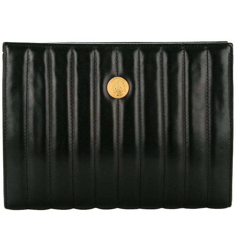 Fendi Black Leather Chocolate Bar Envelope Evening Clutch Bag with Dust Bag