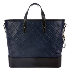 Chanel Black Blue Leather Men's Carryall Travel Weekender Tote Bag in Box