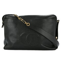 Chanel Black Caviar Supermodel Weekend Travel Shoulder Tote Bag