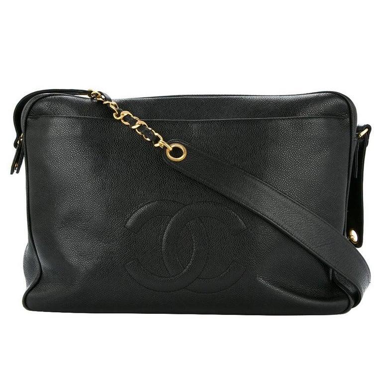 Chanel Black Caviar Supermodel Weekend Travel Shoulder Tote Bag