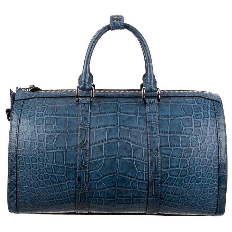 16eb7c1fd8aa Burberry Ltd Ed Blue Alligator Travel Weekend Large Duffle Bag For Sale.  Burberry Limited Edition Blue Alligator Men's Women's ...