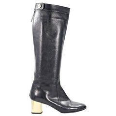 Black Céline Leather Tall Boots