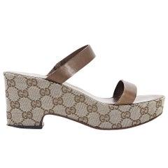 Brown Gucci GG Platform Sandals